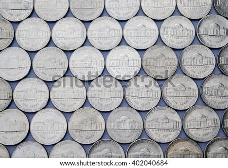 Jefferson nickels, reverse rows - stock photo