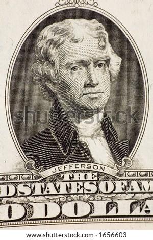 Jefferson on a $2 bill - stock photo