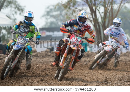 Jeffrey Herlings No.84 Team Red Bull KTM Factory Racing  in competes during Qualifying Race MX2 class the FIM Motocross Wolrd Championship Grand Prix of Thailand on March 05,2016 in Thailand.