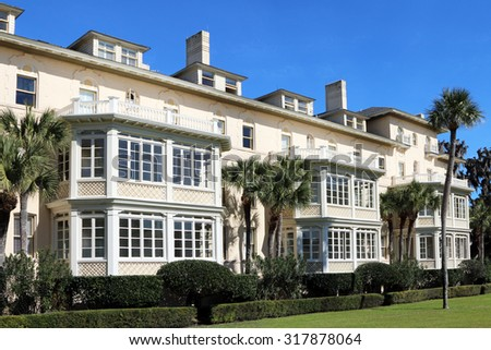 JEKYLL ISLAND, GA-AUGUST, 2015:  Historic Jekyll Island Club Hotel.  The hotel has been serving travelers to the Golden Isles for over 125 years.