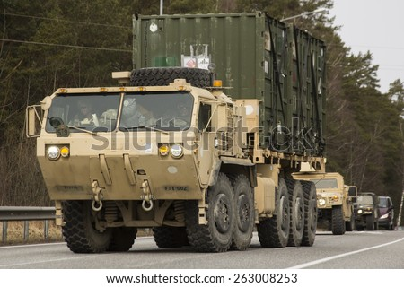 JELGAVKRASTI, LATVIA - MARCH 22, 2015: Demonstration of US army March 22, 2015 in Jelgavkrasti, Latvia