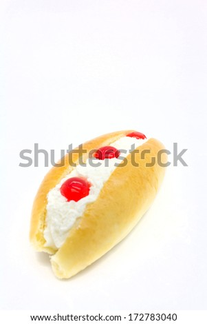 jelly and cream toast on white background