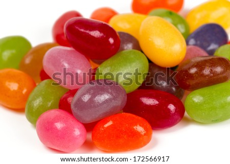 jelly bean candies isolated on white