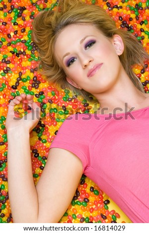 Jelly Beans Girl - stock photo