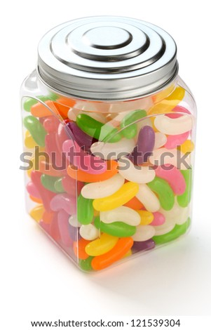 jelly beans in a jar - stock photo