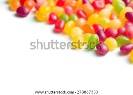 jelly beans on white bakground - stock photo