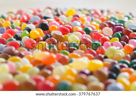 Jelly beans sideview background with selective focus