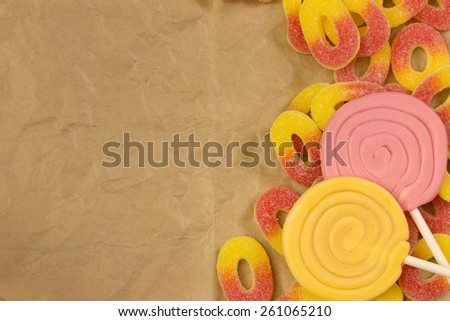 jelly candies and lollies - free space for text - stock photo