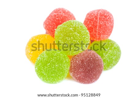 jelly candies isolated on white background