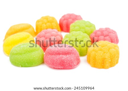 jelly candy on a white background - stock photo