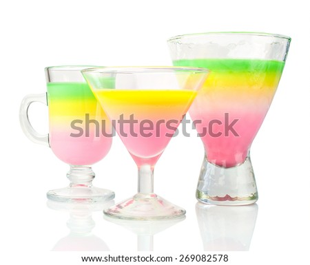 Jelly dessert in a glasses isolated over white - stock photo