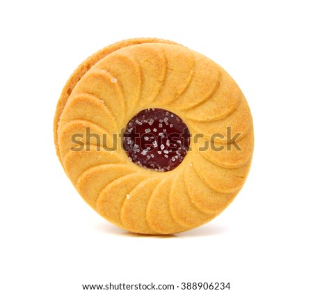 jelly filled cookie isolated on white background