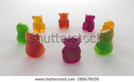 Jelly Gummy Bears. Fruit gum candies - stock photo