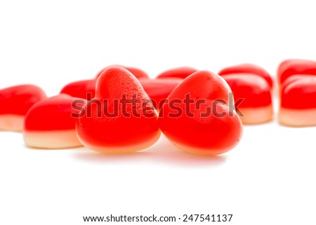 Jelly hearts on white background
