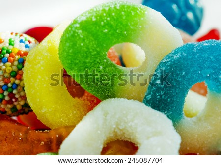 jelly ring candies in bowl. - stock photo