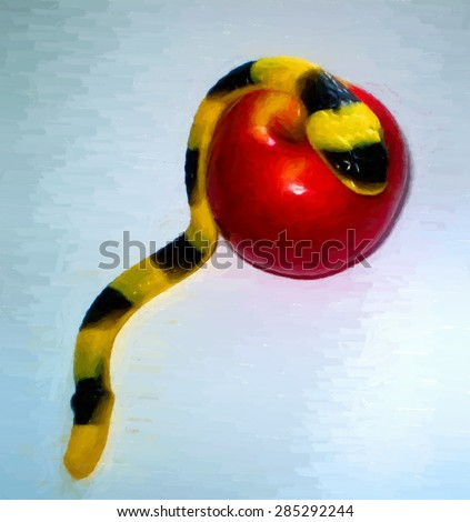 Jelly serpent crawling over an apple - with copy space. Digital painting - stock photo