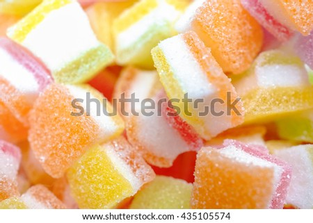 Jelly sweet, flavor fruit, candy dessert colorful on sugar. pattern / texture of jellies. selective focus - stock photo