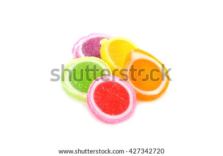Jelly sweet, flavor fruit, candy dessert colorful on white - stock photo