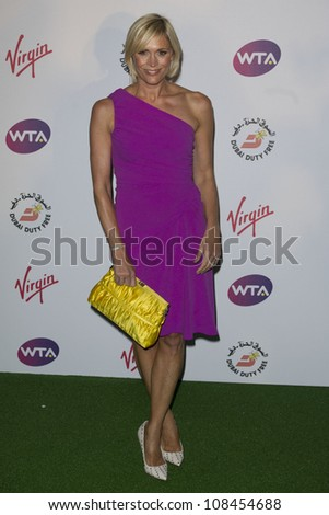 Jenni Falconer arriving for the 2012 WTA Pre-Wimbledon Party at the Roof Gardens in Kensington, London. 21/06/2012 Picture by: Simon Burchell / Featureflash - stock photo