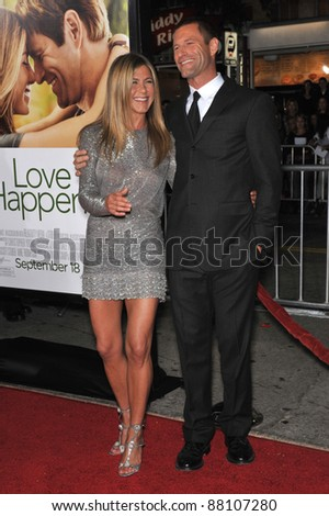 "Jennifer Aniston & Aaron Eckhart at the world premiere of their new movie ""Love Happens"" at the mann Village Theatre, Westwood. September 15, 2009  Los Angeles, CA Picture: Paul Smith / Featureflash - stock photo"