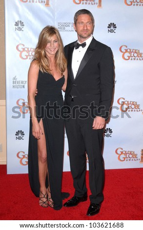 Jennifer Aniston and Gerard Butler at the 67th Annual Golden Globe Awards Press Room, Beverly Hilton Hotel, Beverly Hills, CA. 01-17-10 - stock photo
