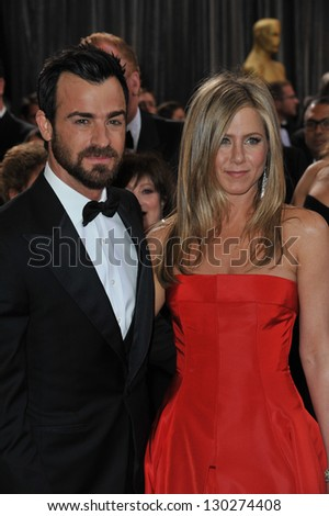 Jennifer Aniston & Justin Theroux at the 85th Academy Awards at the Dolby Theatre, Hollywood. February 24, 2013  Los Angeles, CA Picture: Paul Smith