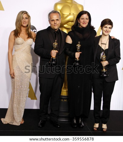 Jennifer Aniston, Mathilde Bonnefoy, Laura Poitras and Dirk Wilutzky at the 87th Annual Academy Awards - Press Room held at the Loews Hollywood Hotel in Los Angeles, USA February 22, 2015. - stock photo