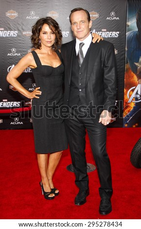 Jennifer Grey and Clark Gregg at the Los Angeles premiere of 'Marvel's The Avengers' held at the El Capitan Theatre in Los Angeles on April 11, 2012.