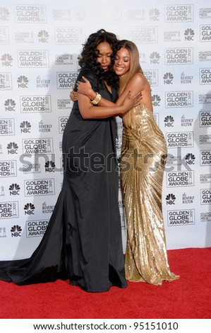 JENNIFER HUDSON (left) & BEYONCE KNOWLES at the 64th Annual Golden Globe Awards at the Beverly Hilton Hotel. January 15, 2007 Beverly Hills, CA Picture: Paul Smith / Featureflash - stock photo