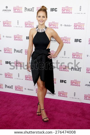 Jennifer Lawrence at the 2013 Film Independent Spirit Awards held at the Santa Monica Beach in Los Angeles, United States, 230213.  - stock photo