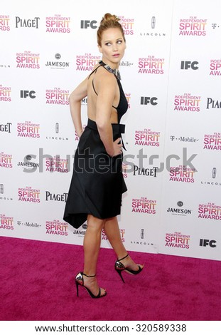 Jennifer Lawrence at the 2013 Film Independent Spirit Awards held at the Santa Monica Beach in Los Angeles, United States on February 23, 2013. - stock photo