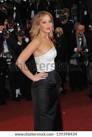 "Jennifer Lawrence at the gala premiere of ""Jimmy P. Psychotherapy of a Plains Indian"" in competition at the 66th Festival de Cannes. May 18, 2013  Cannes, France"