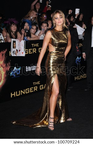 """Jennifer Lawrence at """"The Hunger Games"""" Los Angeles Premiere, Nokia Theater, Los Angeles, CA 03-12-12 - stock photo"""