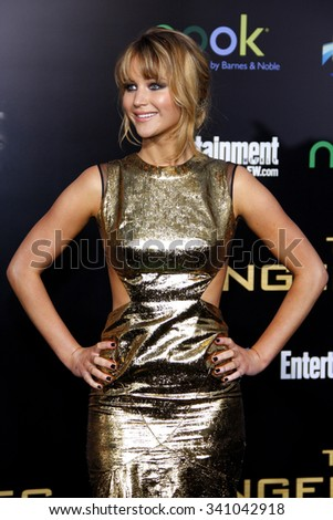 """Jennifer Lawrence at the Los Angeles Premiere of """"The Hunger Games"""" held at the Nokia Theatre L.A. Live, California, United States on March 12, 2012.  - stock photo"""