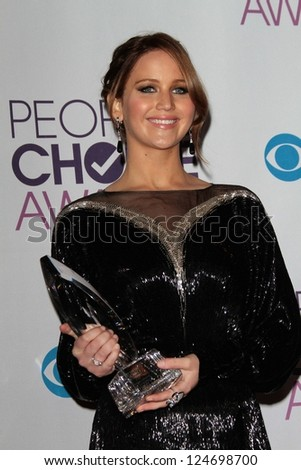 Jennifer Lawrence at the 2013 People's Choice Awards Press Room, Nokia Theatre, Los Angeles, CA 01-09-13 - stock photo