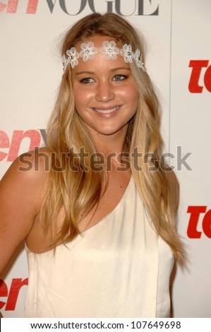 Jennifer Lawrence  at the Teen Vogue Young Hollywood Party. Los Angeles County Museum of Art, Los Angeles, CA. 09-18-08 - stock photo