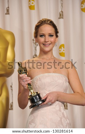 Jennifer Lawrence at the 85th Academy Awards at the Dolby Theatre, Los Angeles. February 24, 2013  Los Angeles, CA Picture: Paul Smith - stock photo