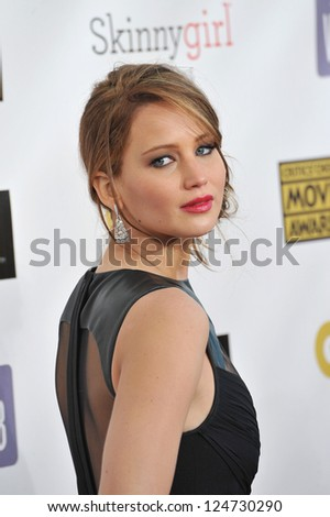 Jennifer Lawrence at the 18th Annual Critics' Choice Movie Awards at Barker Hanger, Santa Monica Airport. January 10, 2013  Santa Monica, CA Picture: Paul Smith - stock photo