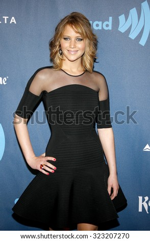 Jennifer Lawrence at the 24th Annual GLAAD Media Awards held at the JW Marriott Los Angeles at L.A. LIVE in Los Angeles, USA on April 20, 2013. - stock photo