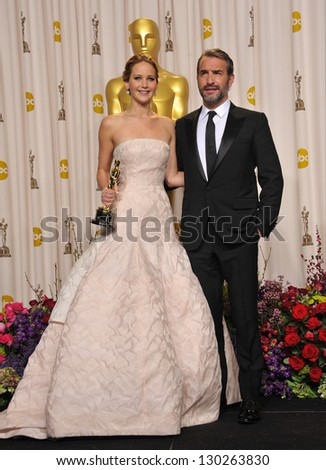 Jennifer Lawrence & Jean du Jardin at the 85th Academy Awards at the Dolby Theatre, Los Angeles. February 24, 2013  Los Angeles, CA Picture: Paul Smith