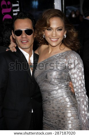 Jennifer Lopez and Marc Anthony at the Los Angeles premiere of 'The Back-Up Plan' held at the Regency Village Theatre in Westwood on April 21, 2010.  - stock photo
