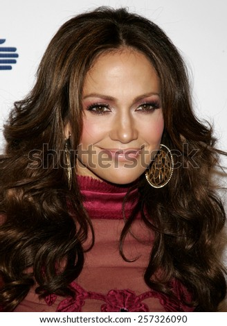 Jennifer Lopez at the Los Angeles Free Clinic Annual Dinner Gala Honoring Paramount Pictures held at the Beverly Hilton Hotel in Beverly Hills on November 20, 2006. - stock photo