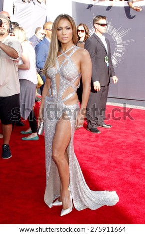 Jennifer Lopez at the 2014 MTV Video Music Awards held at the Forum in Los Angeles on August 24, 2014 in Los Angeles, California.  - stock photo