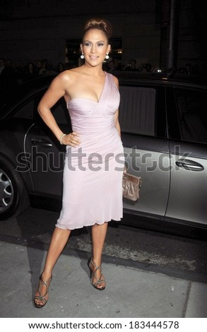 Jennifer Lopez, in a Versace dress and carrying a Versace bag, at Fashion Group International Presents The 25th Annual Night Of Stars, Cipriani Restaurant Wall Street, New York, October 23, 2008 - stock photo