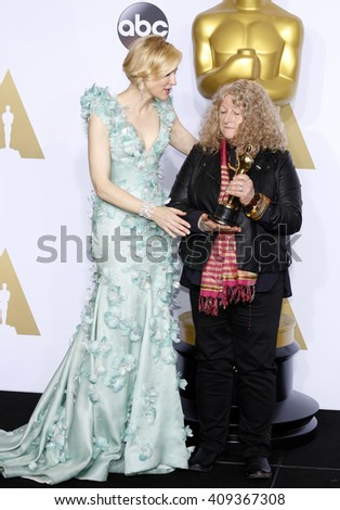 Jenny Beavan and Cate Blanchett at the 88th Annual Academy Awards - Press Room held at the Loews Hotel in Hollywood, USA on February 28, 2016. - stock photo