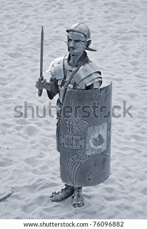 JERASH - NOVEMBER 25: Jordanian man dresses as Roman soldier during a roman army reenactment show on November 25, 2009 in Jerash, Jordan - stock photo