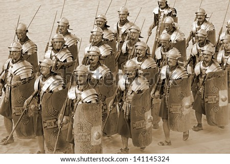 JERASH - NOVEMBER 25: Jordanian men dressed as Roman soldier during a roman army reenactment show on November 25, 2009 in Jerash, Jordan - stock photo