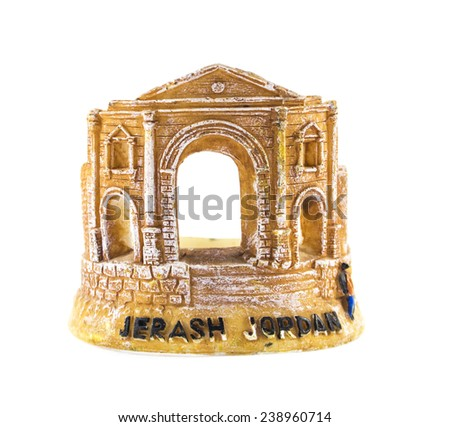 Jerash Souvenir isolated on white . - stock photo