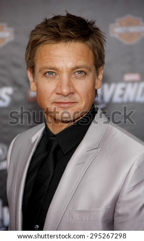 Jeremy Renner at the Los Angeles premiere of 'Marvel's The Avengers' held at the El Capitan Theatre in Los Angeles on April 11, 2012.   - stock photo