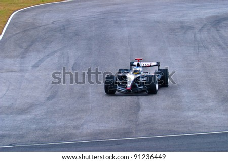 JEREZ DE LA FRONTERA, SPAIN - DEC 04: Alex Wurz of McLaren Mercedes F1 races during a training session on December 04, 2004, in Jerez de la Frontera, Spain